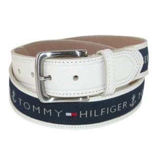 【Tommy Hilfiger】2018男時尚寶藍織帶鑲嵌乳白色皮帶-網(預購)