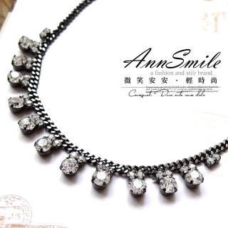 【微笑安安】韓製華麗風亮鑽排列項鍊(共2色)