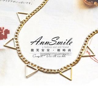 【微笑安安】韓製索鍊鏤空倒三角短項鍊