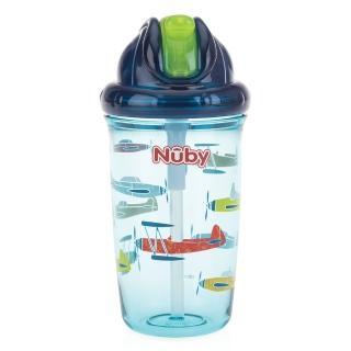 【Nuby】晶透學飲杯細吸管300ml(藍)