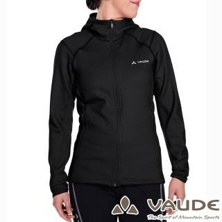 【VAUDE德國原廠】女款吸濕排汗連帽彈性刷毛保暖外套(VA-05703黑15A/登山/旅遊/都會/休閒)