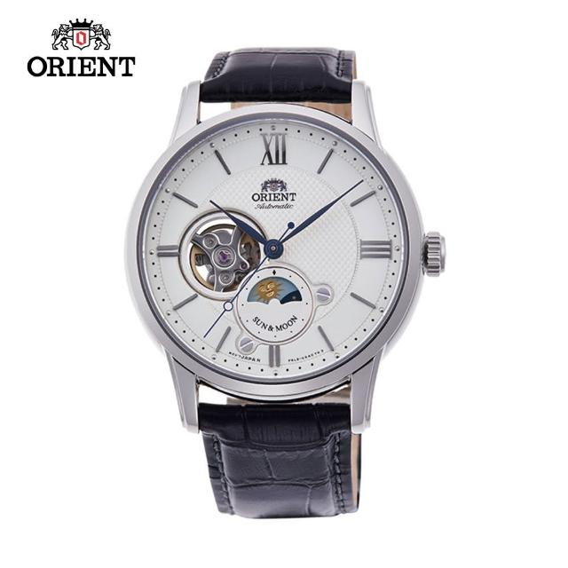 【ORIENT 東方錶】ORIENT 東方錶 SUN&MOON系列 半露空日月相錶  皮帶款 白色 42mm(RA-AS0005S)