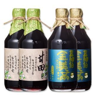 【豆油伯】金滿甘醬油4入組(金美滿醬油-無添加糖500ml*2+ 甘田醬油500ml*2)