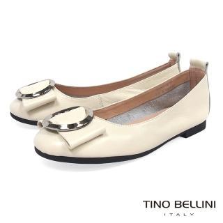 【TINO BELLINI 貝里尼】雅緻環飾真皮平底娃娃鞋B83261(米白)