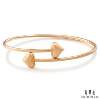 【點睛品】Wrist Play 18K玫瑰金愛心開口式手環