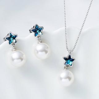 【Angel】耀眼星星珍珠水晶耳環墜子項鍊組(耀眼珍珠水晶款)