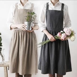 清新設計款工作室圍裙 畫室工作圍裙 烘焙圍裙