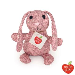 【Apple Park】野餐好朋友系列 有機棉印花玩偶禮盒(長耳兔-粉紅花瓣)