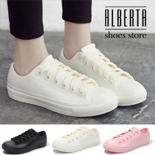 【Alberta】雨季必備 綁帶低筒帆布鞋造型雨鞋 休閒雨鞋 防水PVC材質 3色