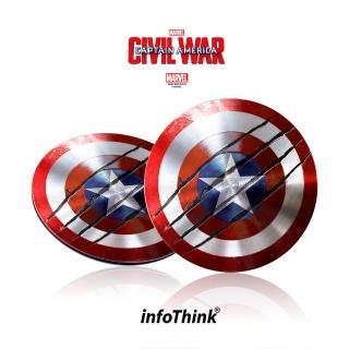 【InfoThink】美國隊長超薄盾牌TYPE C / USB雙頭隨身碟 16GB(戰損版)