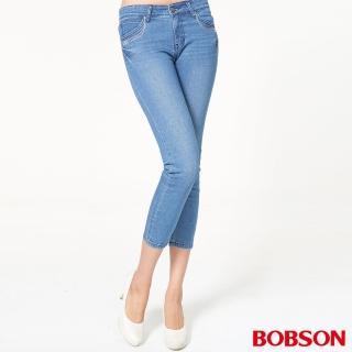 【BOBSON】女款鑽飾牛仔八分褲(藍207-58)