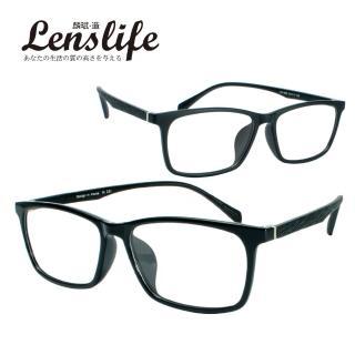 【麟武-造】TR90光學仿木光學眼鏡-方框(亮黑/霧黑 #1806)
