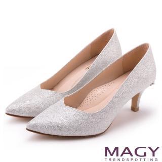 【MAGY】簡約奢華風 閃爍鑽石光澤夢幻高跟鞋(銀色)