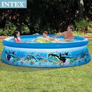 【INTEX】海洋圖案簡易裝EASY SET游泳-附濾水泵 305x76cm-3853L 適用6歲+(28125)