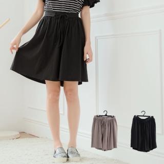 【衣心衣意】鬆緊綁帶素色設計褲裙(黑-麻咖啡SE1B8040)