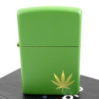 【Zippo】美系~Marijuana Leaf-大麻葉圖案綠色烤漆打火機