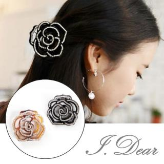 【I.Dear】日韓髮飾-美麗新娘玫瑰水鑽水晶大髮夾髮抓(2色)