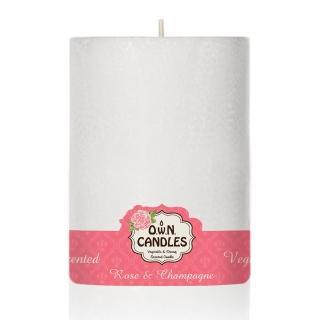 【O.W.N.對環境友善的蠟燭】白雪柱狀蠟燭 Rose Champagne 玫瑰香檳(香氛.精油.蠟燭)