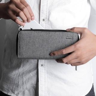 【KAKA】簡約男士大容量多卡位拉鏈長夾/錢包/手拿包(淺灰色)
