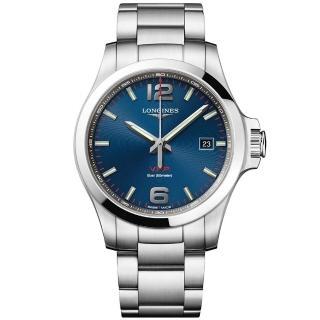 【LONGINES 浪琴】征服者系列V.H.P.萬年曆手錶-藍x銀/43mm(L37264966)