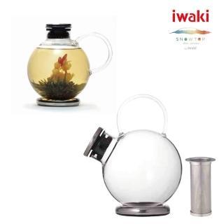 【iwaki】SNOWTOP茶系列不鏽鋼濾網球體壺(1000ml)