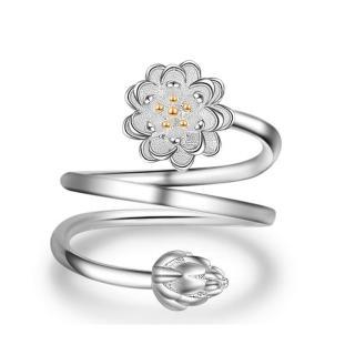 【RJ NewYork】時尚設計雙層蓮花旋轉戒指(白金色)