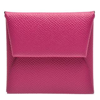 【Hermes 愛馬仕】經典Bastia系列EPSOM牛皮方型暗釦零錢包(紫紅H041054CK-Mediumvioletred)
