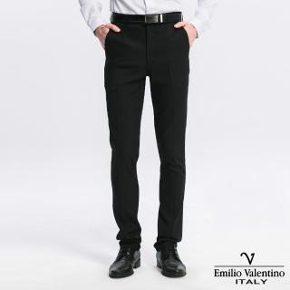 【Emilio Valentino 范倫提諾】修身彈性平面西褲(黑)