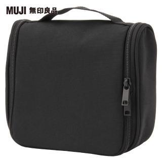 【MUJI 無印良品】聚酯纖維吊掛盒型收納包/黑/約16x19x6cm