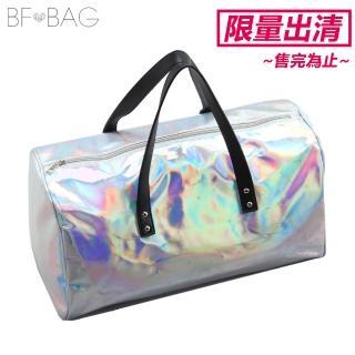 【B.F.】炫彩時尚大容量旅行手肩側包(華麗銀)/