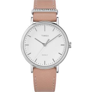 【TIMEX】天美時 週末Fairfield系列 晶鑽時尚優雅手錶(白/粉紅 TXTW2R70400)