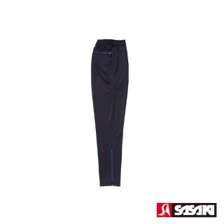 【SASAKI】吸濕排汗功能伸縮針織運動長褲-男-黑/寶藍(窄褲口)