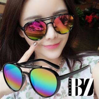 【BeLiz】時尚反射*雙線黑圓框墨鏡/彩虹