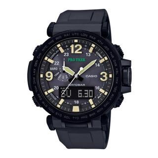 【CASIO 卡西歐】PRO TREK 大型螢幕抗低溫數位羅盤登山錶(PRG-600Y-1)