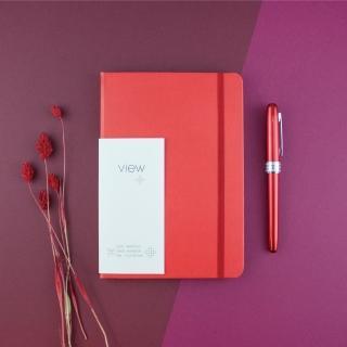 【綠的事務用品】眼色View-32K精裝方格筆記本-紅