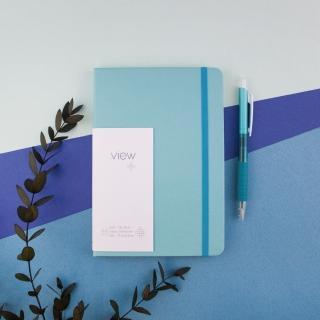 【綠的事務用品】眼色View-32K精裝方格筆記本-藍