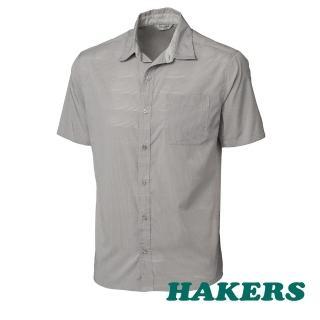 【HAKERS 哈克士】男 抗UV快乾短袖襯衫(鷹灰)