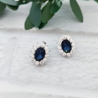 【DoriAN】手作純銀 燦爛藍寶石鑽太陽花925純銀耳環 耳針(925純銀 頂級CZ鑽  附精美包裝組合)