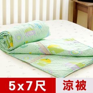 【米夢家居】原創夢想家園-台灣製造-100%精梳純棉雙面涼被(5*7尺-青春綠)