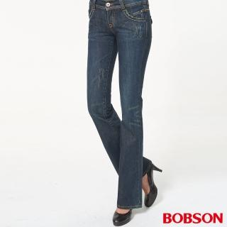【BOBSON】女款低腰中喇叭褲(藍9028-52)