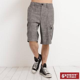 【5th STREET】男多袋休閒短褲-麻灰