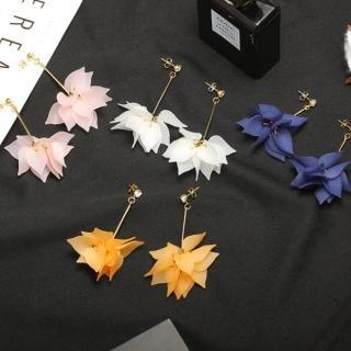 【I-SHINE】韓系飾品-韓國氣質花朵花瓣長流蘇垂墜耳環(4色)