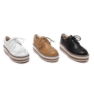 【Sp house】英倫學院全真牛皮透氣厚底牛津鞋(黑色白色淺棕3色全尺碼)