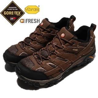 【MERRELL】越野鞋 Moab 2 GTX 運動 男鞋 戶外 登山 跑鞋 防水 耐磨 黃金大底 咖啡 黑(ML06041)