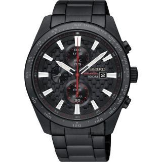 【SEIKO 精工】Criteria 極速限定計時男錶-鍍黑/42mm(V176-0AW0SD  SSC657P1)