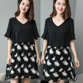 【麗質達人】18338印花雪紡假二件式洋裝(XL-5XL)
