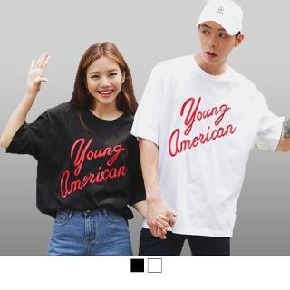 【男人幫】大尺碼 黑色 Young American 印花 自創純棉短袖T恤(T1544)