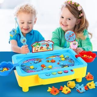 【JoyNa】兒童益智釣魚盤玩具 磁性旋轉音樂電動釣魚達人玩具
