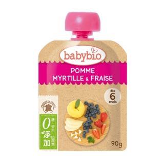 【法國BABYBIO】有機蘋果藍莓草莓纖果泥(90g)