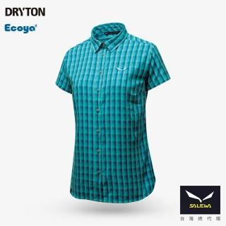 【義大利 SALEWA】PUEZ 女 快乾短袖格紋襯衫(27005-5467 湖綠格)